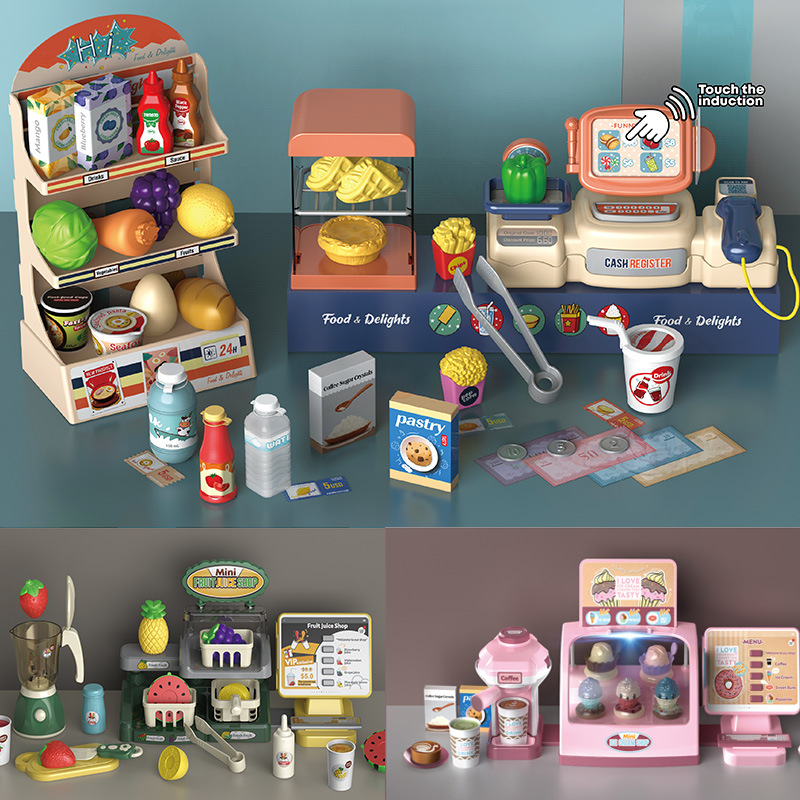 Kids Pretend Play Educational Toys Simulation supermarket cashier dessert ice cream pizza  juice machine Set Gifts for Children