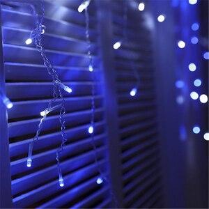 Image 5 - Guirlande lumineuse pour rideau décoratif féerique de noël, 1.5x1.5M, 2x2M, guirlandes de noël, LED cordes, pour fête de noël, jardin, mariage