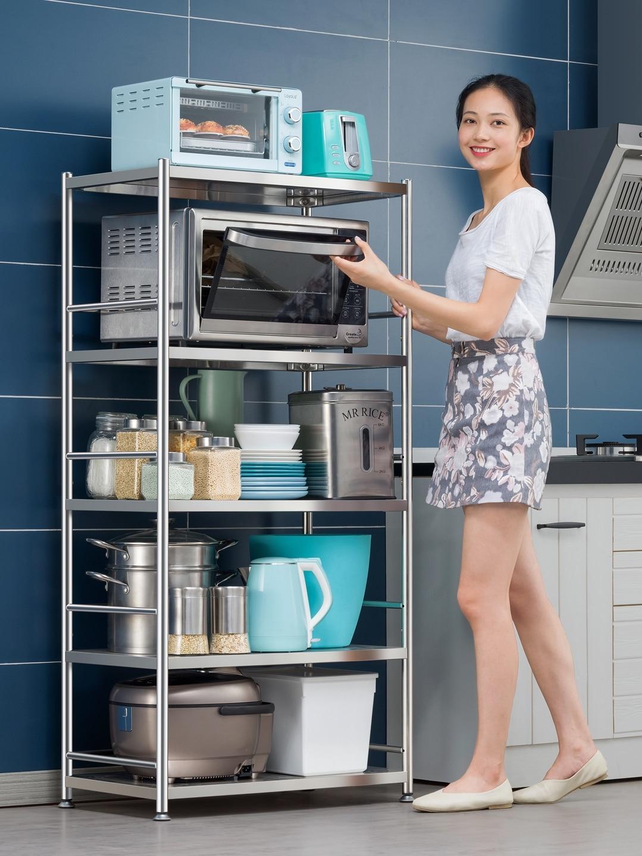stainless steel kitchen microwave racks floor multi layer storage rack oven household storage shelves