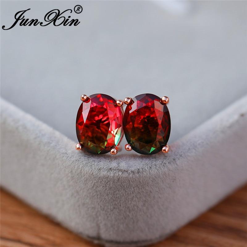 Green Red Earrings