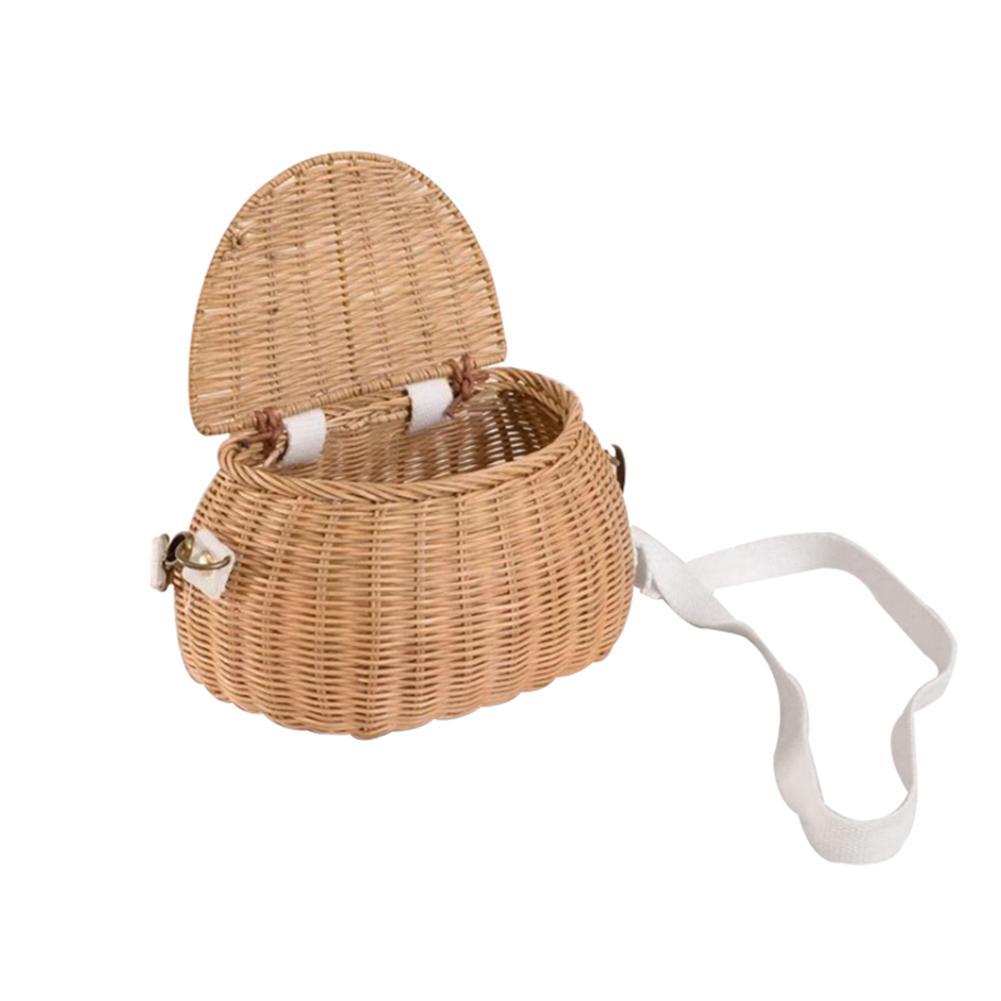 Детская маленькая корзина, милый Плетеный вручную рюкзак из ротанга, детская корзина для хранения через плечо, модные корзины, сумки для дев...