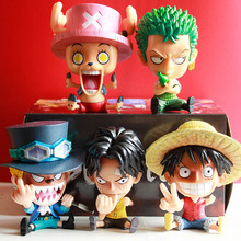 Q Version Japanese Anime One Piece Roronoa Zoro Luffy Sanji BROOK Nami Franky Chopper PVC Action Figure toys car Decoration toys цена 2017