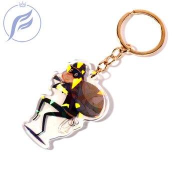 FANGQINGMAO 1PCS 6CM Custom Keychain Personalized Funny Key Chain Anime Figure Holographic for Gift