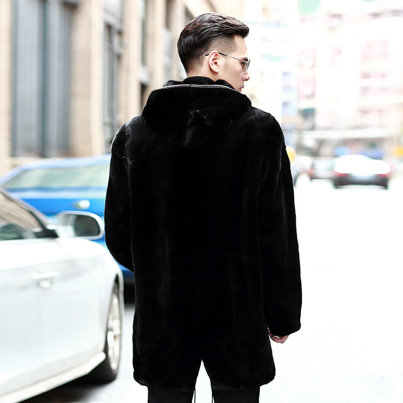 Real Mink Fur Coat Men Winter Jacket Hooded Long Plus Size Natural Mink Fur Jacket Mens Mink Coats 2020 87299M5 KJ3310