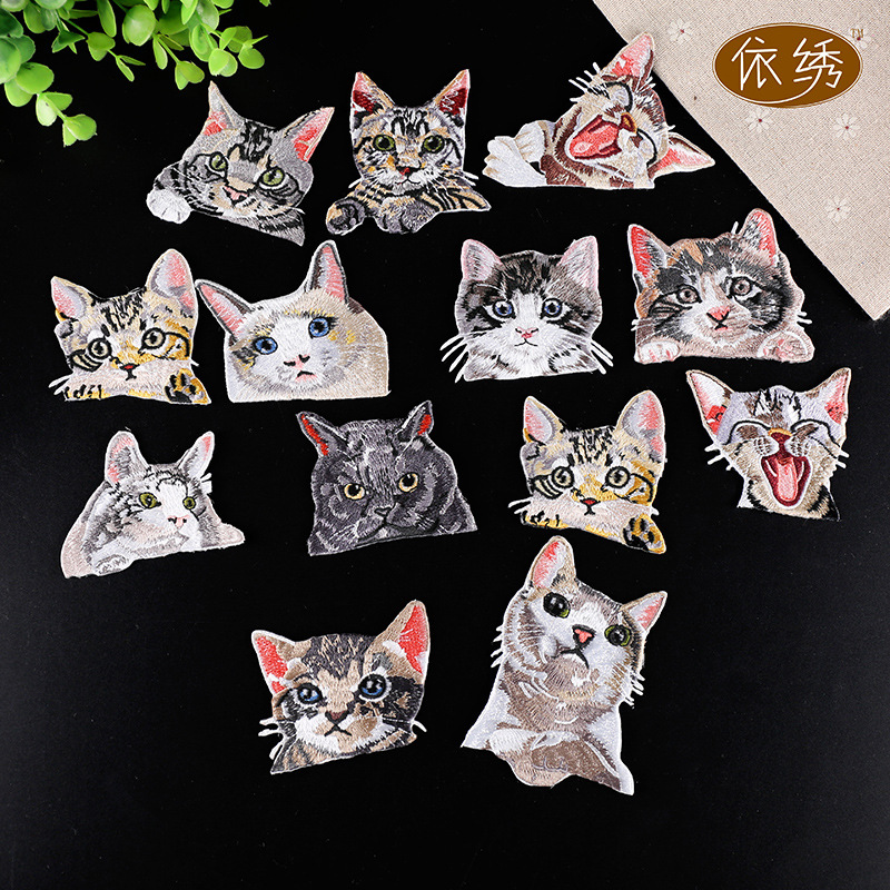 10pcs/lot  Embroidery Patches Letters Clothing Decoration Accessories Cute Animals Cat Diy Iron Heat Transfer Applique