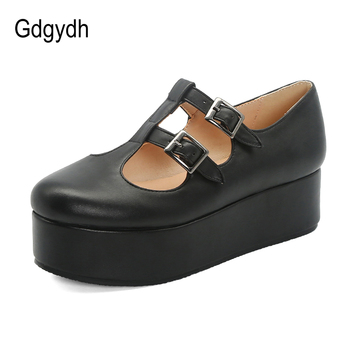 цены Gdgydh Fashion Buckle Japanese Student Shoes Pink Gothic Lolita Shoes Platform Flat Heel 2020 New Spring Women Flats Comfortable