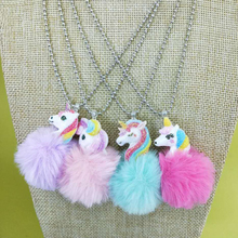 Cute Unicorn Rainbow Plush Ball Pendants Necklace Child Charms Chain Necklace For Baby Party Girls Gifts
