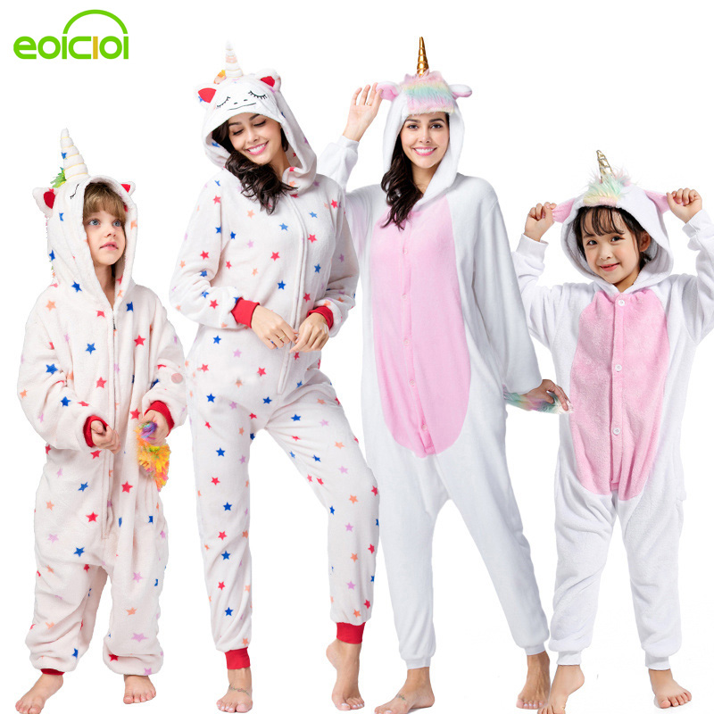 NEW Mommy And Me Animal Unicorn Panda Family Matching Pajamas Clothes Hooded Kids Mother Soft Sleepwear Winter Christmas Pyjamas