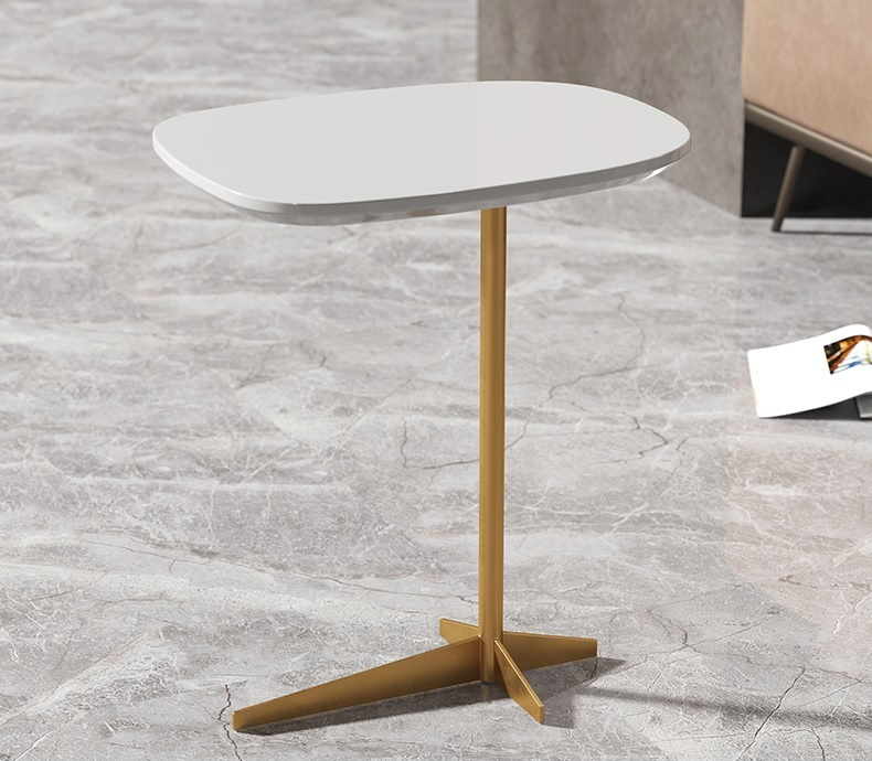 Small Side Table with Solid Wood Top and Gilding Iron Made Metal Base