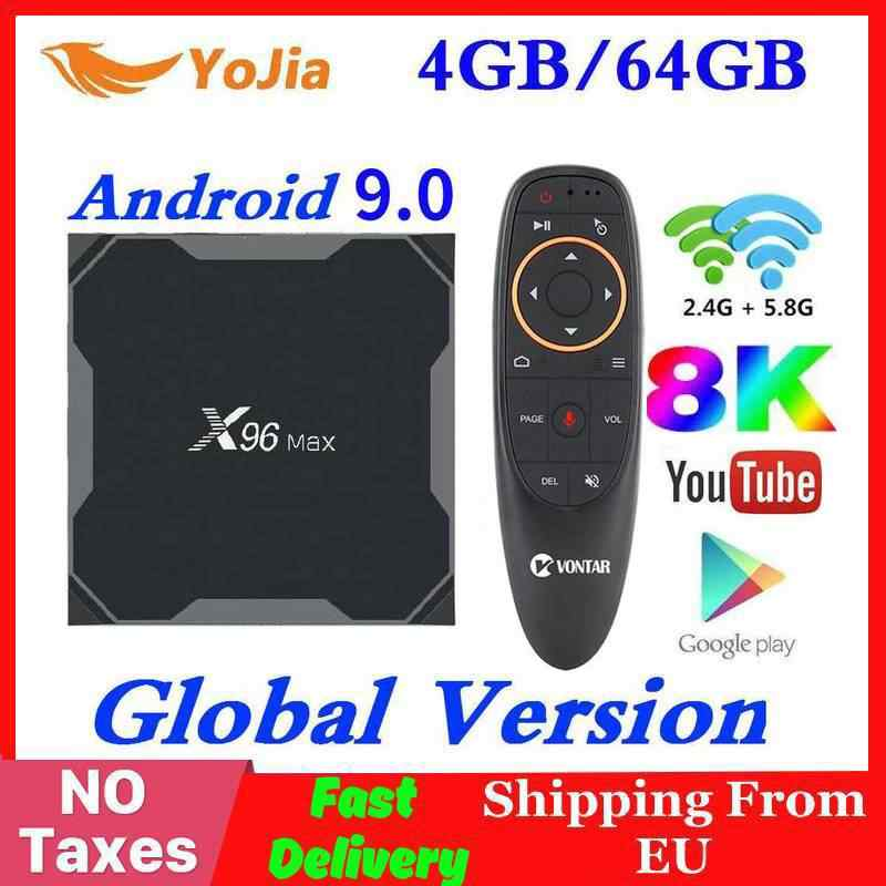 Android 9,0 caja de TV X96 Max Amlogic S905x3 8K Smart Media Player 4GB RAM 64GB ROM X96 Max Set top Box 2G16G QuadCore 2,4G y 5G Wifi
