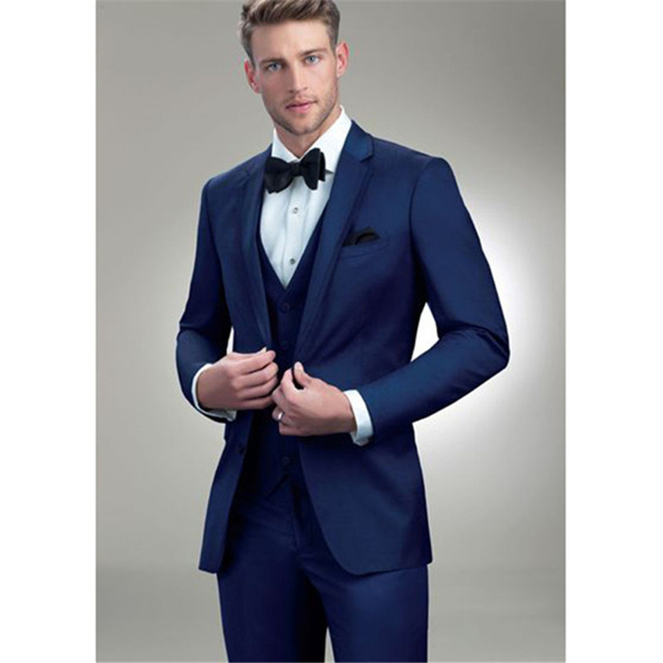 New Classic Men's Suit Smolking Noivo Terno Slim Fit Easculino Evening Suits For Men Navy Blue Groom Style Tuxedo Custom Prom Bl