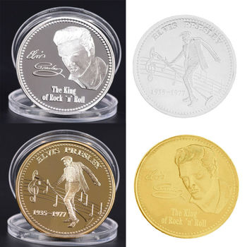 Elvis Presley Commemorative Coin 1935-1977 The King of N Rock Roll Gold Commemorative Coin Gift Dropship image