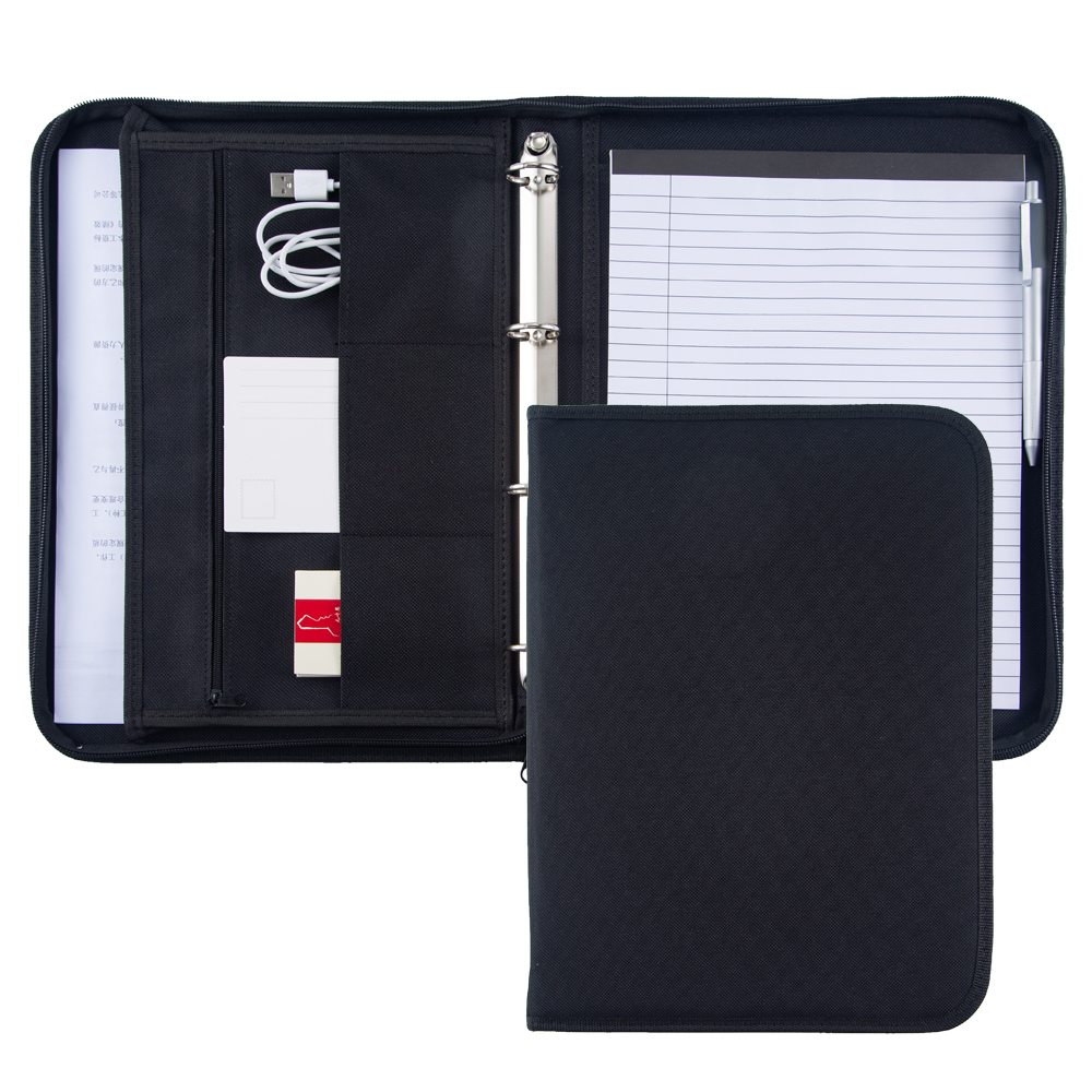 Business Office Conference Document File Folder Organizer A4 Black,Fabric Oxford 4 Ring Binder Padfolio Portfolio Briefcase