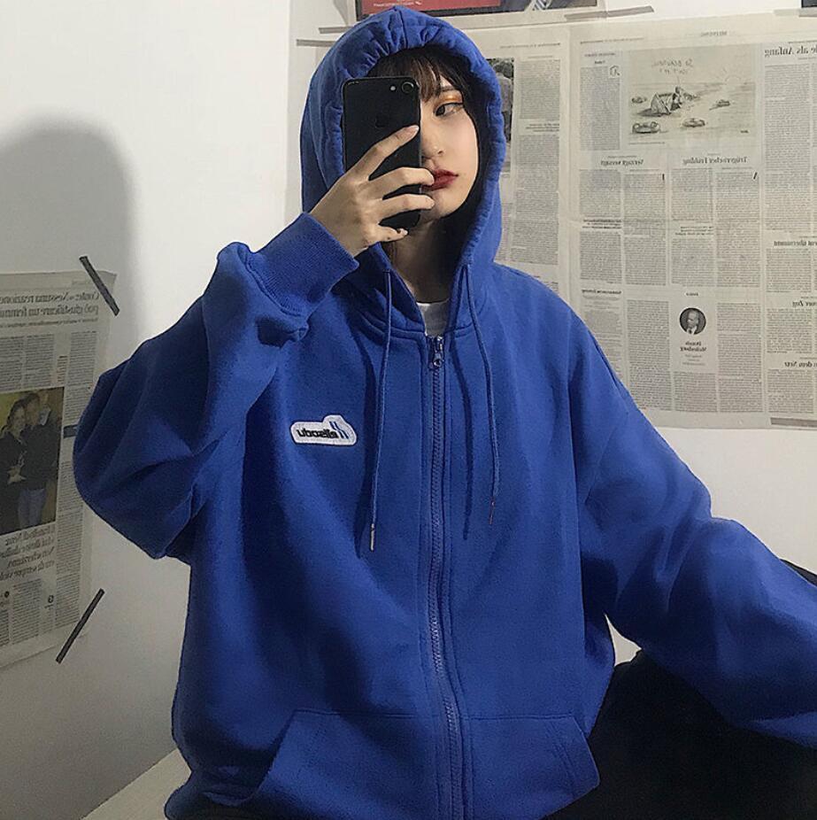 Harajuku Zip Up Sweatshirts Women Hoodies Korean Oversized Thin Clothes Plus Size Loose Casual Solid Color Shirt Long Sleeve Top 15