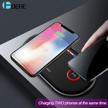 Dcae 20W Dual Qi Wireless Charger untuk iPhone 11 X XR X 8 Airpods 2 Samsung S10 S9 Catatan 10 9 Tipe C 10W Double Cepat Pengisian Pad(China)