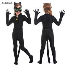 Girls Catwoman Costume Kids Black Cat Woman Girl Suit Stretch Jumpsuit Child NEW