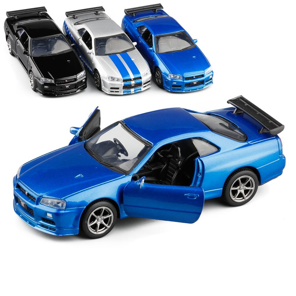 ALI shop ...  ... 4000344037233 ... 2 ... High quality 1:36 Nissan GT-R R34 sports car alloy model,simulated metal pull back model toys,children's gifts,free shipping ...