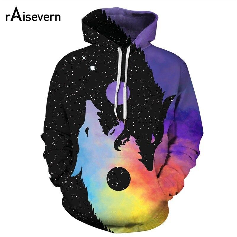 Raisevern Yin Yang Wolf Hoodies 3D Men Women Unisex Hooded Pullover Tracksuits Harajuku Outfits Sweatshirts Drop Shipping