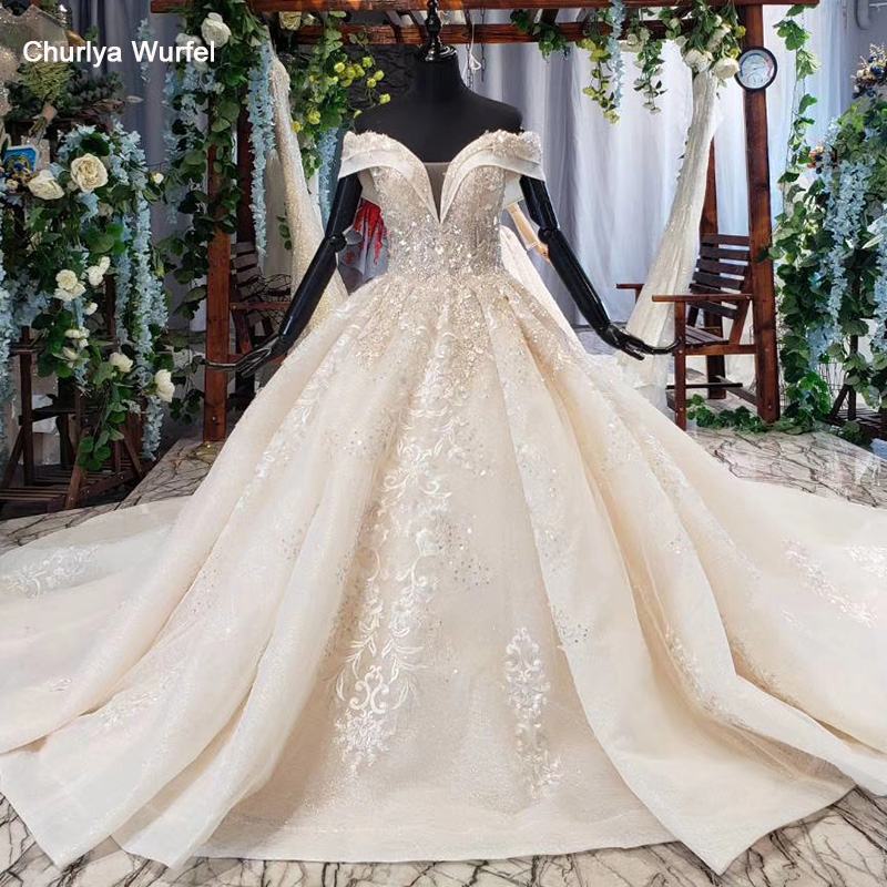HTL647 Wedding Dresses For Women With Cathedral Train Off The Shoulder Ball Gowns Lace Up Wedding Dress Princess Noiva Vestido