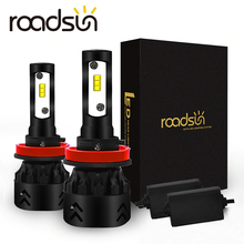 Roadsun LED פנסים נורות Led H4 H7 H11 H1 9005 9006 HB3 HB4 Lumileds ZES שבבי 12V 6000K אוטומטי רכב מנורה