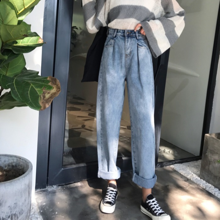 Autumn And Winter Red Pants 2019 New Chao Panya Daddy Pants Loose, High Waist, Slim, Straight Cylinder Jeans Female