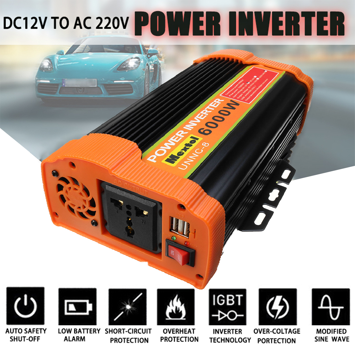 12000W Inverter 12V 220V 6000W Auto Modified Sine Wave Voltage Transformer USB Solar Power Inverter Converter Car Charge