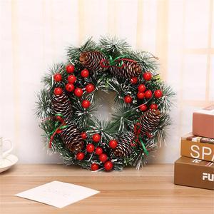 Image 3 - Christmas Wreath Handmade Rattan Pendant Christmas Garland Mall Xmas Tree Door Decoration Advent Wreath guirnalda navidad