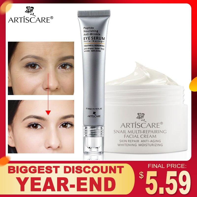 ARTISCARE Snail Repair Facial Cream + Peptide Eye Serum Anti Wrinkle Shrink Pores Face Care Fine Lines Remove Dark Circles 2Pcs