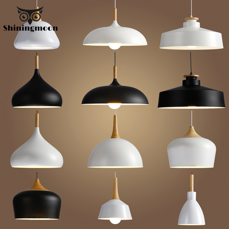 Modern Bar Cafe Pendant Lights Nordic Minimalism Aluminum Suspension Luminaire Wood Hanging Lamp Kitchen Pendant Lamp Fixture