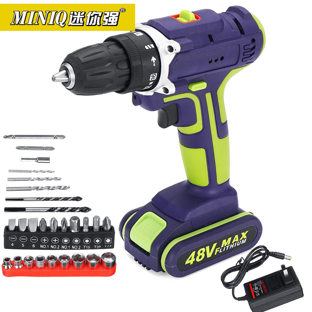 MINIQ 3 In 1 Hammer Drill 48V Cordless Drill Double Speed Power Drills LED lighting 50Nm 25+1 Torque Electric Drill