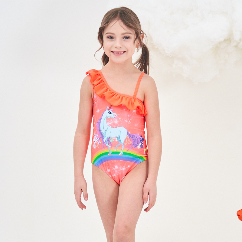 2019 New Style Hot Sales One-piece Swimming Suit Rainbow Unicorn Hot Springs N Girls Baby Girls KID'S Swimwear PA1952