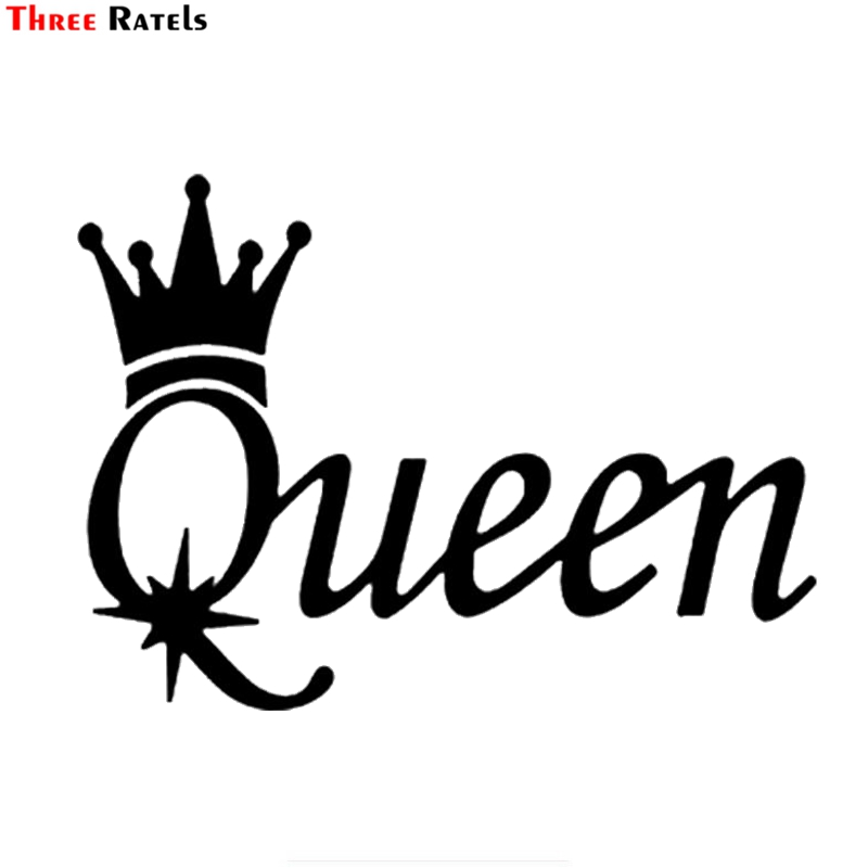 Three Ratels FTZ-2301 Fashion QUEEN Vinyl Car Motorcycle Sticker Decal Black Silver Decoration