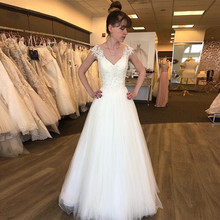 2020 New Wedding Dresses V-Neck Cap Sleeve Sweep Train Back With Appliqued  A-Line Bridal Gowns vestidos de novia robe mariee