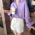 Женская блузка с рукавом «летучая мышь», фиолетовая рубашка оверсайз с отложным воротником и пуговицами, Базовая Блузка, T9N702, лето 2019