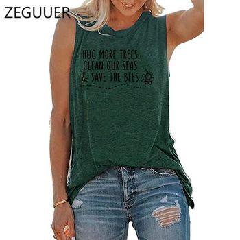 Przytul więcej drzew oczyść nasze morza Save The Bees Print Vintage hiphopowy T-Shirt Tank bluzka bawełniana kobiety lato Casual estetyczne ubrania tanie i dobre opinie ZEGUUER CN (pochodzenie) COTTON NONE Osób w wieku 18-35 lat Tank tops Suknem Na co dzień REGULAR