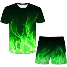 2021 3d The Flame Whirlpool Polyester Boys Clothes Sets Boy Summer Hot Sale T Shirt Short Pants Set Clothing Kids 4-14 Year