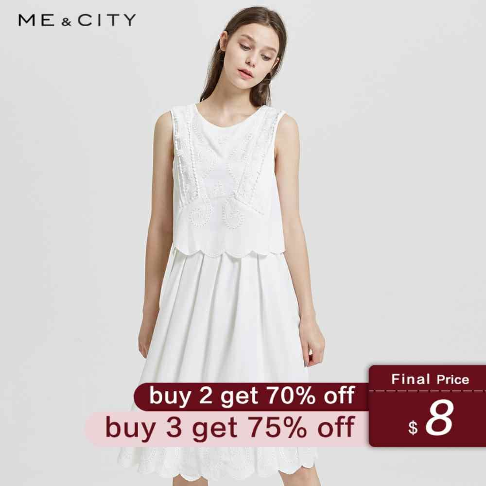 Me&City New Spring Summer Elegant lace dress vacation two embroidered lace sleeveless solid color dress