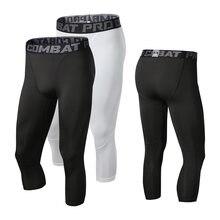 Мужские спортивные Леггинсы 3/4 компрессионные штаны для бега