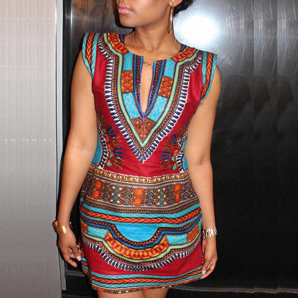 חם מסורתי הדפסת דאשיקי אפריקאית שמלות נשים 2020 סקסי רטרו אדום קצר קיץ שמלת אופנה חלוק Africaine Bazin Riche