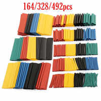 164/328/492pcs/ Set Heat Shrink Tube Assorted Insulation Shrinkable Tube 2:1 Wire Cable Sleeve Kit