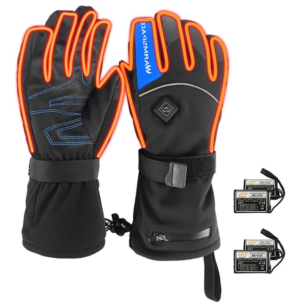 Перчатки с подогревом унисекс, мотоциклетные перчатки, перчатки с электроподогревом на батарейках, водонепроницаемые зимние термоперчатк...