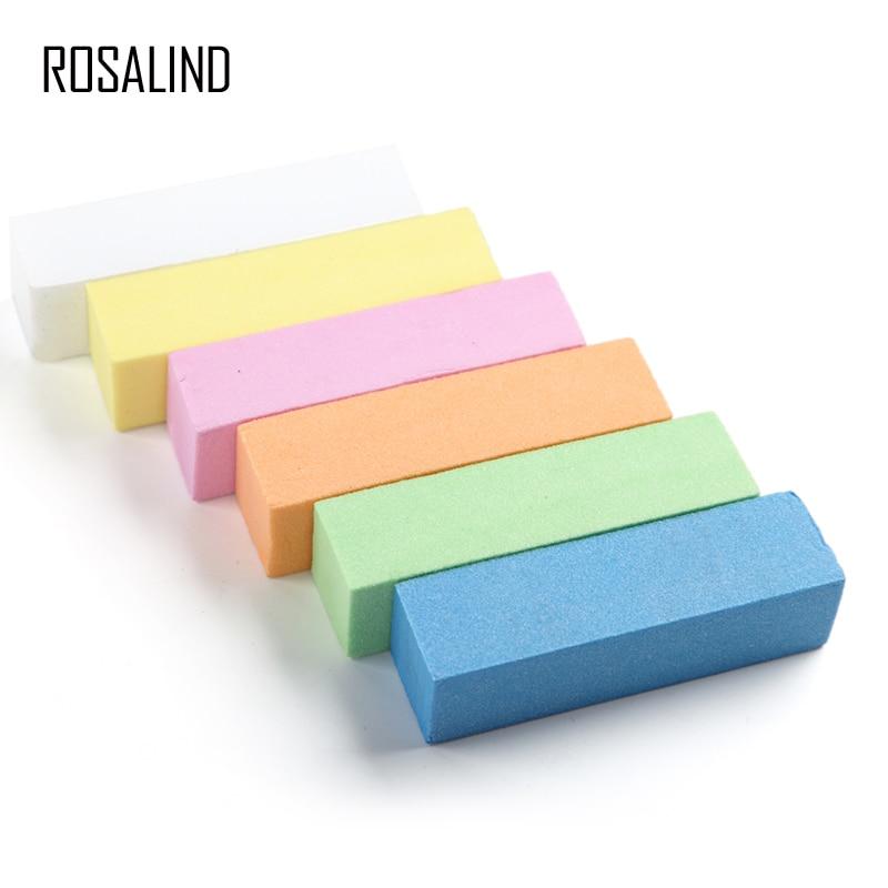 ROSALIND Nail Files For Manicure Nail Buffer Pulishing Tools Semi Permanent Nail Sponge Buffering Sanding Block Gel Art