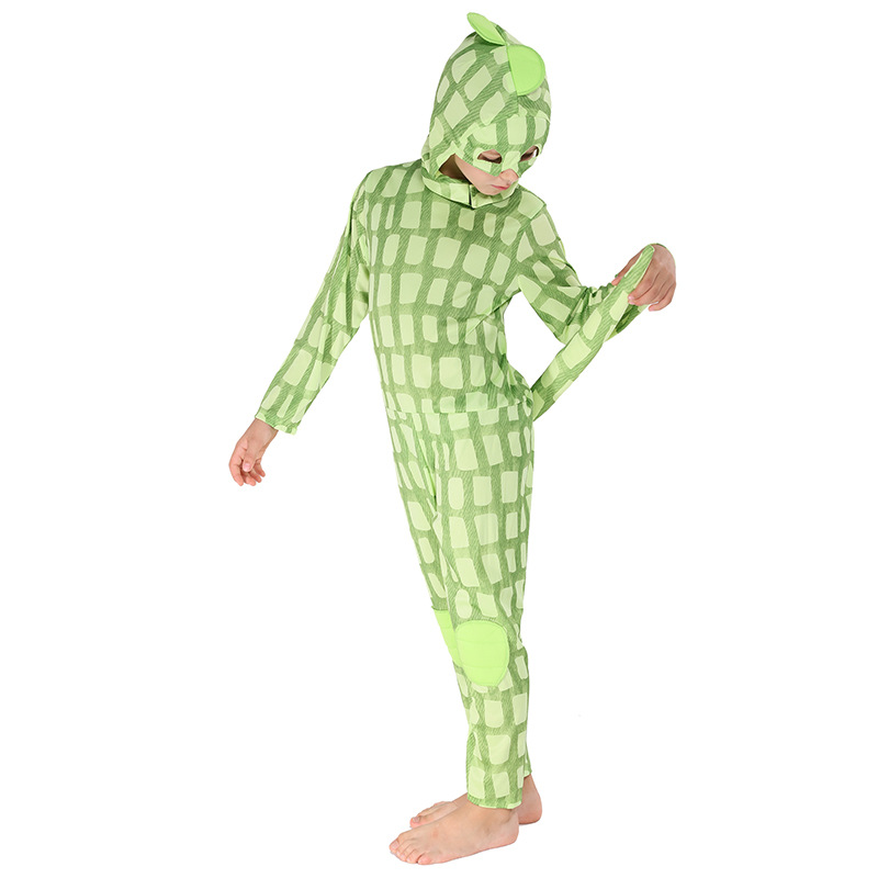 2020 Halloween Costume For Kids Child Chameleon Costume Boys Lizard Costume Animal Cosplay Jumpsuit And Hood 2 Pieces Full Set