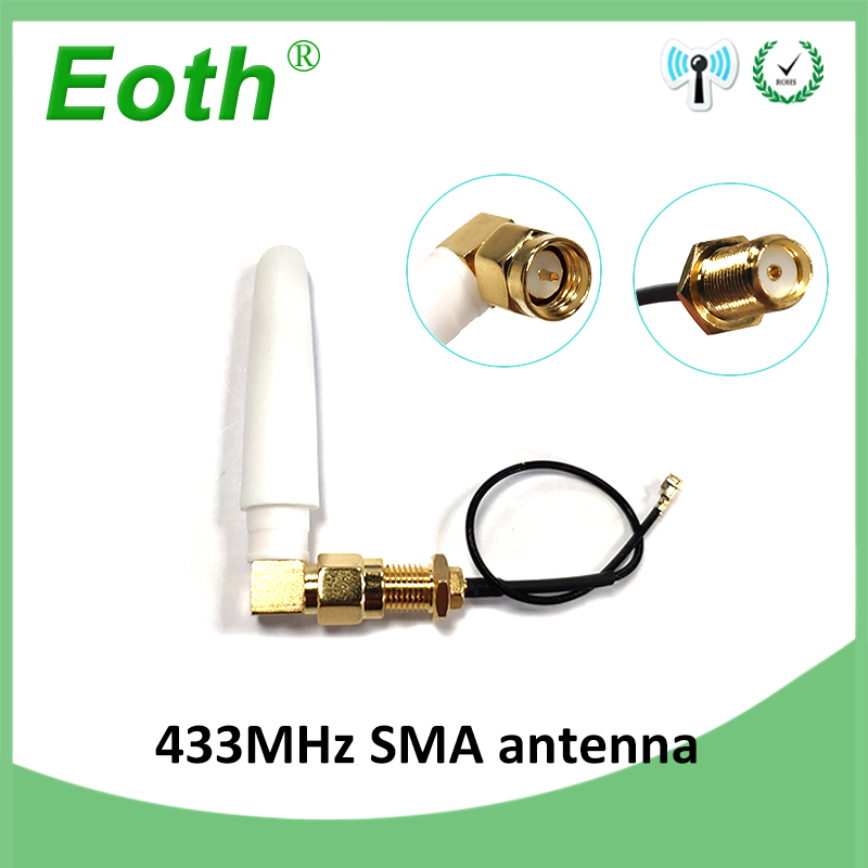 433MHz Antenna 2.5dbi SMA Male Connector 433 MHz Antena Small Size Elbow 433m Antenne Lorawan + 21cm RP-SMA/u.FL Pigtail Cable
