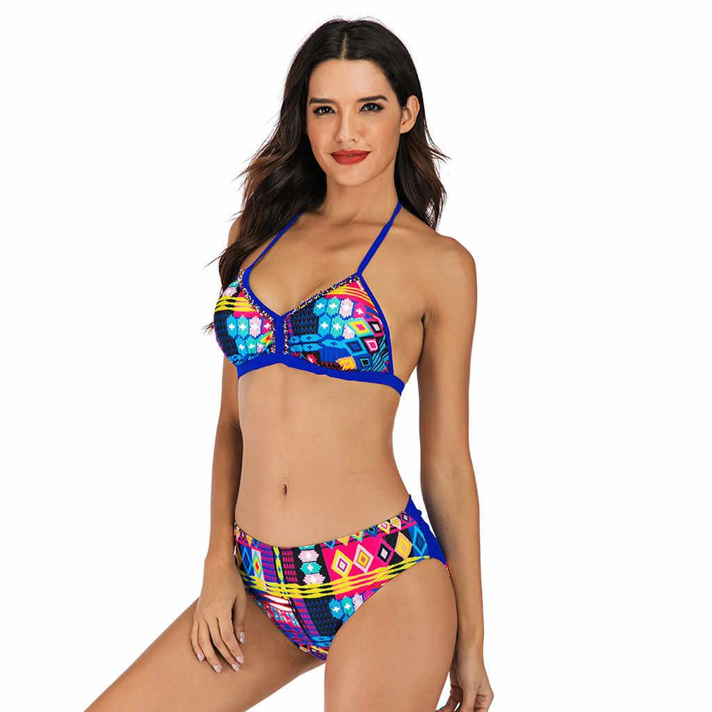Donne della Stampa della novità Sexy Halter Bikini Set Estate A Vita Alta Tankini Spiaggia Hawaiana Costumi Da Bagno Femminile Vacanza Bikini Costumi Da Bagno