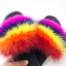 Mode Bont Slippers Vrouwen Furry Sandalen Vrouwelijke Bont Slides Pluizige Slippers Platte Schoenen Vrouw Dames Slippers Bont Slippers Vrouwen