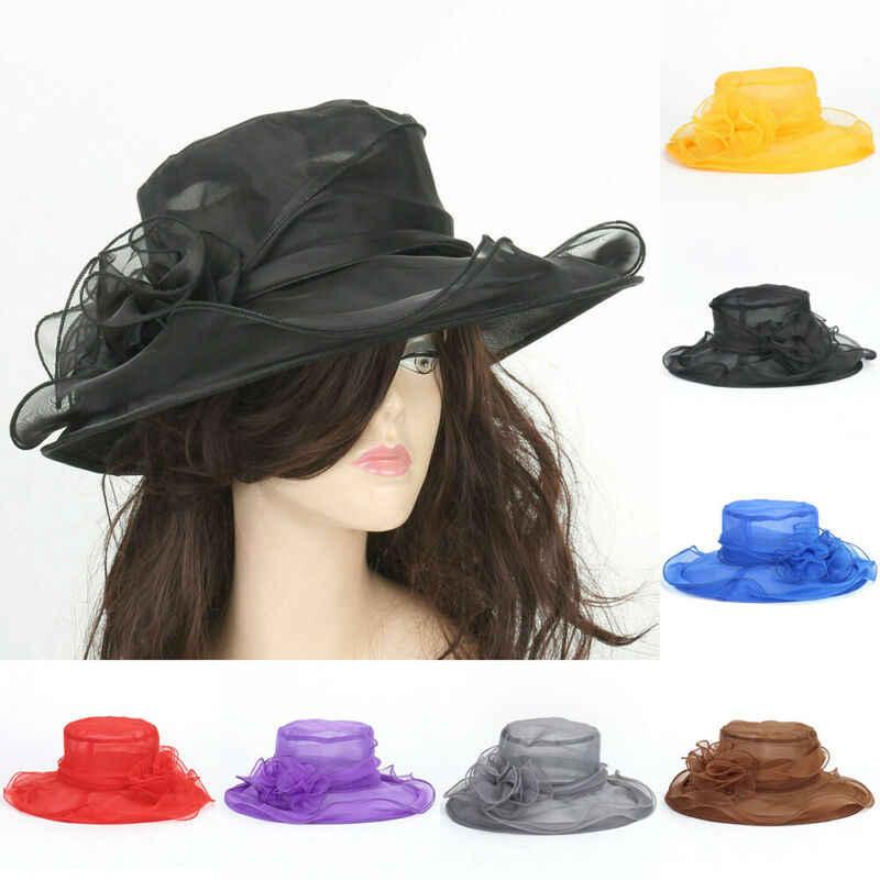 Elegancka koronkowa kapelusz moda kobiety koronki Tea Party kościół Kentucky Derby szerokie rondo kapelusz słońce ślubne Cap czarny biały szary czerwony