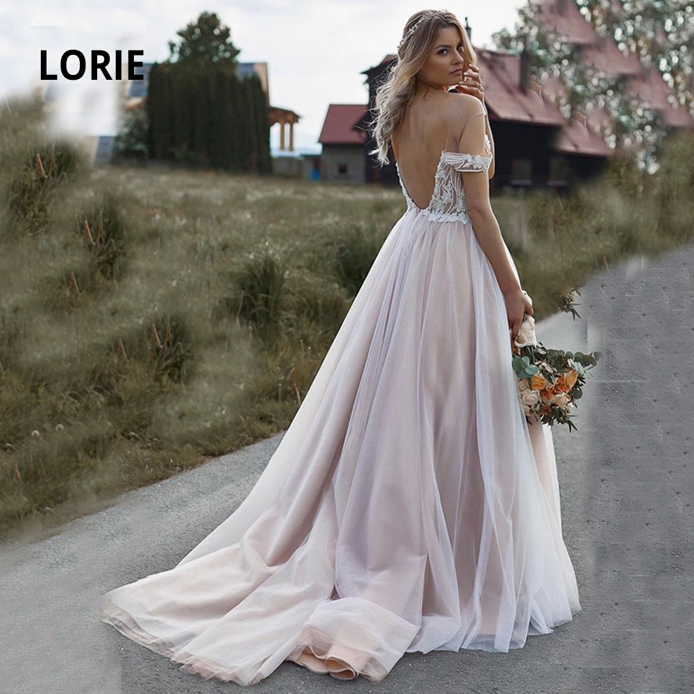 LORIE Off Shoulder Beading Wedding Dresses 2019 Soft Tulle With Pearl Sexy Backless Vintage Appliqued Ball Gowns Bridal Gowns