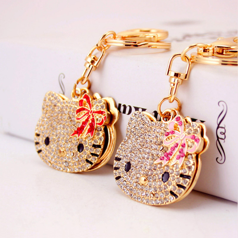 Creative Cute Diamond Cartoon Cat Head Makeup Mirror Key Chain Ladies Bag Accessories Metal Pendant Key Chain