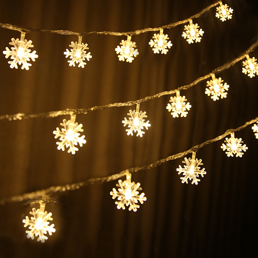 Thrisdar 20/40/80 LED Snowflake String Light Battery Operated Christmas Snowflakes Garland Light Wedding Holiday Fairy Light